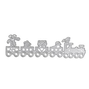 Kesme Ölür Scrapbooking DIY Scrapbooking için Ölür Metal Karikatür Tren Fotoğraf Albümü Dekoratif Kabartma Stencil