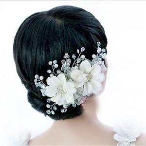 Nupcial cristales perlas flor de aleación de zinc tocado de la joyería del pelo para el banquete de boda blanco / rojo de la vendimia de la joyería de la boda accesorios para el cabello
