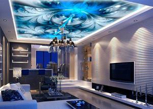3D سقف خلفيات لغرفة المعيشة مخصصة الجداريات السقف 3D الأزرق شيطان جميلة مجردة بتلات خلفية فاخرة للجدران سقف 3D