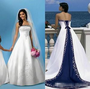 2019 Hot Branco E Azul Praia de Cetim Vestidos de Casamento Strapless Bordados Trem da Capela Espartilho Custom Made Vestidos De Noiva Para A Igreja De Casamento
