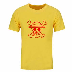 무료 배송 여름 신작 T 셔츠 남성 원피스 Luffy 밀짚 모자면 일반 O 넥 탑 Tee Anime Clothing 반팔 DIY-0158D