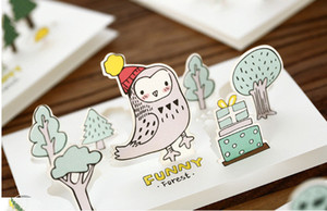 Cartoon Forest 3d Card Creative Relief Applique Birthday Day Greeting Cards Universal Christmas Card Envelope Christmas Gift