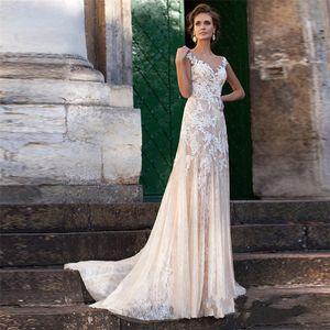 Encaje vestido de novia 2020 vestidos de novia de escote ilusión Apliques de la vendimia del traje de mariage vestidos de novia de la vaina Sheer Volver Vestido