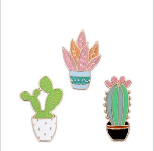 venta al por mayor 3 unids / set bisutería bolso jean sombrero accesorios de metal esmalte planta cactus pin collar broche botón insignia