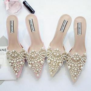 진주 Rhinestones 숙 녀 발가락 신발에 대 한 높은 발 뒤꿈치 신발 분홍색과 베이지 색 샌들 신발 크기 35-39 무료 배송