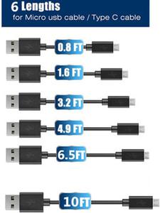 Nuovo cavo Micro USB 2A ad alta velocità Cavi tipo C Powerline 6 lunghezze 0,25 M 0,5 M 1 M 1,5 M Sincronizzazione 2 M 3 M Ricarica rapida USB 2.0 per Samsung S7 S8