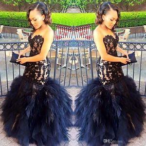 2017 sexy largo vestidos de baile sirena cariño apliques de cuentas negro niña de baile 2K17 vestido de fiesta vestidos de volantes con gradas más tamaño vestido formal