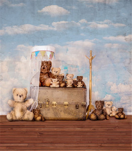 Vintage Blue Sky White Clouds Bambini Fotografia Fondali in vinile Orso bambole Baby neonato Photo Studio Background Pavimento in legno