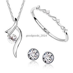 Brincos de colar de cristal austríaco e pulseira swarovski elementos de cristal conjunto de jóias Z103