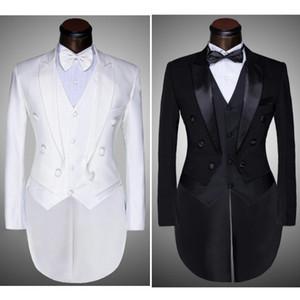 (+ calça + Vest + Bow Tie casaco) 2020 homens da forma Suits Tailcoat smoking Prom Groom Wedding Branco Preto Slim Fit Cantor