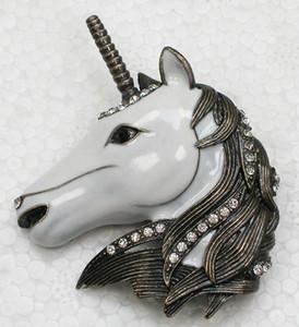 Atacado Moda Broche de Strass Enamel Unicorn Pin broches Presente Da Jóia C101783