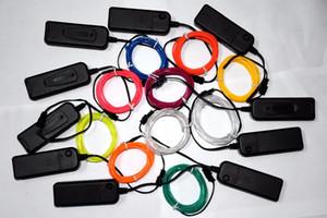 2m / porción de tubo de cuerda flexible luz de neón del resplandor del EL de alambre del cable tira de LED luces de neón decorativas de los zapatos del partido Ropa coche con controlador de batería