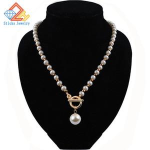 ¡Artículos de promoción! Forme la cadena de collar de perlas de imitación CCB / cross / necklace, joyería de la muchacha del collar de la perla, envío libre