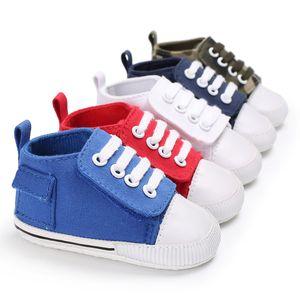 새로운 패션 최초의 워커 베이비 신발 후크 루프 유아 베이비 캔버스 스니커즈 부드러운 아래쪽 베이비 처음 산책 신발