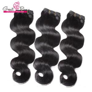 Greatremy® 100% brésilien Hair Extensions Trame # 1B Vierge vague de corps humain Cheveux ondulés Weave 3pcs / lot de couleur Bundles cheveux