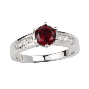 Genuine Red Garnet 925 Silver Ring Women Jewelry 6.0mm Crystal Wedding Band Gennaio Compleanno Birthstone Gift per Lover R034RGN