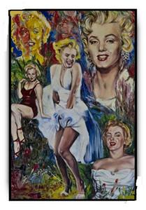 Emoldurado Marilyn Monroe, Genuíno Pintado À Mão Abstrato retrato Home Decor Pop Art pintura a Óleo da lona, Multi tamanhos Frete Grátis Ab134