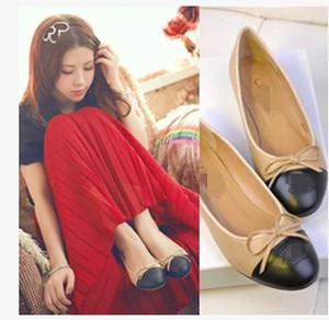 Sıcak Satış Bahar Güz Moda Marka Tasarımcısı Kadın Hakiki Deri Papyon Bej Casual Bale Daireler Ayakkabı Loafer'lar Bayanlar Siyah Beyaz 34-42