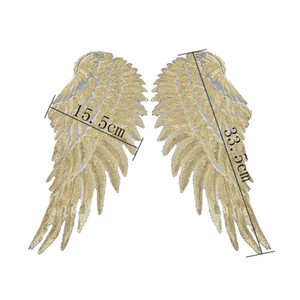 Freeshipping Sequins Patch DIY Angel Wings Patches For Kids Clothes Sew-on Embroidered Patch Motif Applique Sticker For Cloth 1Pair