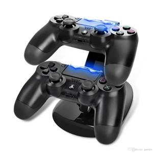 PS4 한 플레이 스테이션 LED에 대 한 듀얼 USB 충전기 도킹 탑재 충전 스탠드 홀더 무선 PS4 X 박스에 대 한 팩을 가진 게임 패드 게임 컨트롤러