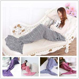 Atacado-Adulto Cobertores Sereia Cauda De Peixe Cobertores Mulheres Saco De Dormir Cama Quente Macio Artesanal De Malha Sofá Cobertor A0515