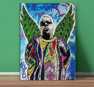 عالية الجودة أليك الاحتكار باليد HD طباعة الكتابة على الجدران الفن وحة زيتية أجنحة خضراء سيئ السمعة BIG جدار الفن Decro في أحجام قماش متعدد
