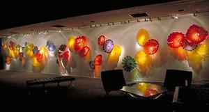 100% boca soplado Borosilicate Glass Murano Flower Wall Art Plates Estilo Hand Hand Glass Glass Plates para Hotel Gallery Wall Art Decor