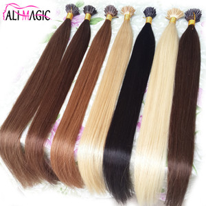 Me inclino las extensiones del cabello humano. Extensiones de cabello con punta de keratina recta Fusión color de cabello al por mayor Ali Magic Factory Outlet 100g 100strands