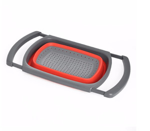 Складной над раковиной силиконовый дуршлаг с ручкой кухня складной ситечко красный зеленый вариант 6-Кварта емкость