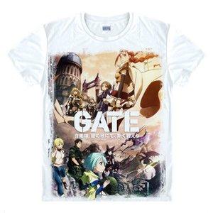 Animado Camisa Puerta Jieitai Kano Chi nite, Kaku Tatakaeri Camisetas Manga Corta lolita cosplay Rory Mercurio motivs Printed T-Style051-NO09