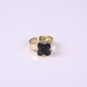 천연석 Druzy Vug Crystals Ring 독점 꽃 모양 검정 Raw Drusy Cluster Reiki Gemstone 손가락 반지 Golden Unisex