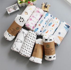 Enfants Swaddling Blankets 2 couches Baby Wrap Serviette de Bain Couvertures en Coton Swaddling Imprimé Sac de couchage 25 Styles 120pcs OOA3174
