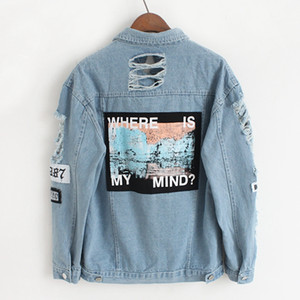 Wholesale- 2017 spring vintage ripped jeans jacket women basic coats denim jackets women where is my mind print jaqueta feminina