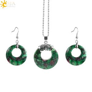CSJA Fine Jewelry Sets pierres précieuses Nouveau mode cristal creux ronde Collier Crochet Dangle boucle d'oreille Dangler Ensemble pour les femmes E568 Bijoux A
