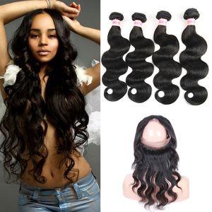 Кружева для тела Закрытие волос Бразильское 360 9A с Weaves 360 Кружева Фронтальные Пакеты Волос Волна Человеческий Фронта Virgin Omkkw