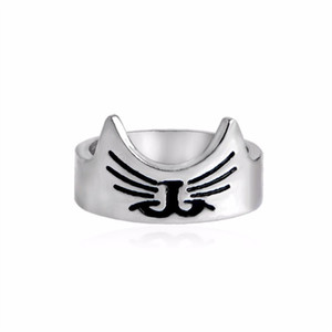 Cute Lovely Kitty Cat Face Ring Cat silhouette orecchie barbe naso bocca anello Semplice Pet Animal Jewelry anel