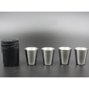 Stainless Steel tumbler Cover Mug Sets Camping Cup Mug Drinking Coffee Tea Beer With Case Travel Holiday Picnic Cup 30ML 4pcs Set New HH-C27
