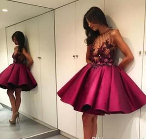 2017 짧은 댄스 파티 드레스 Burgundy See-Through Bodice 플라워 라인 A Puffy Mini Cocktail Dresses 이브닝 드레스 드레스 Robe De Soiree