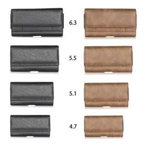 Para la nota 20 10 S20 S10 Iphone 12 11 XS Pro X MAX R8 Hip horizontal de cuero universal de cuero de piedra del grano Clip universal Bolsa de cinturón
