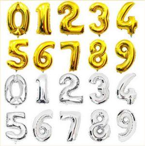 Nouveau Rose Bleu Numéro Foil Ballons Fête D'anniversaire Digit Ballons De Mariage Décor Baloons Noël Vacances Fournitures 16 pouce nombre
