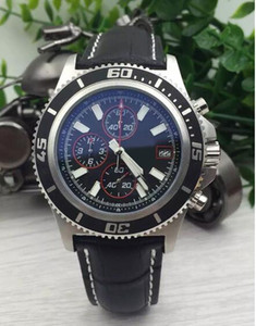 2017HOT !!! Marca relógios homens superocean ii heritage 46 relógio de couro cinto de relógio de quartzo cronógrafo homens relógio de pulso vestido de relógios DEZEL