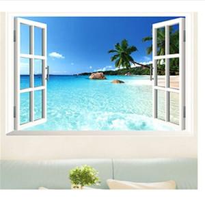 الجملة -2016 60 * 90 سنتيمتر 3d النافذة خلفيات pvc القابل للإزالة الكلاسيكية الأزرق شاطئ ورق الحائط الزخرفية شحن مجاني DP128