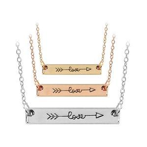 Collier lettre d'amour Minimaliste Bar Cupidon en or rose couleur bâton Collier simplement horizontal Amour Sous-catégorie pour drop ship bijoux hip hop Femmes