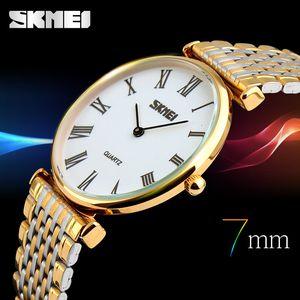 SKMEI 연인의 석영 시계 남자 여자 연인의 럭셔리 시계 50M 방수 라만 다이얼 스테인레스 스틸 밴드 아날로그 석영 시계 9105