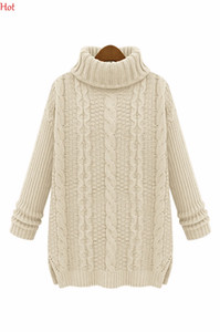 Wholesale-2016 New Women Long Sleeve Knitted Pullovers Lady Autumn Winter Sweater Turtleneck Slim Knitwear Black Beige Khaki SV006201