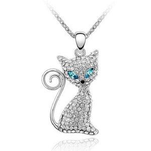 Atacado austríaco cat cat pingente de cristal bonito jóias feitas com swarovski elements para as mulheres presentes de natal 1-286 frete grátis