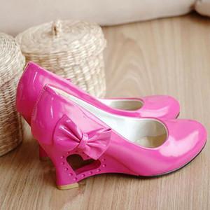 Женщины клинья обувь сладкое сердце Принцесса лук женщина свадебная обувь Fretwork клинья каблуки повседневная женская насосы большой размер 35-43