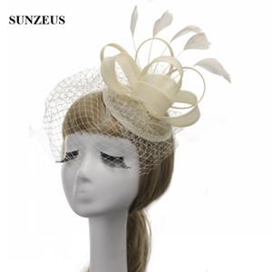 Mulheres Chapéu Do Vintage Britânico Chapéus de Festa de Linho Marfim Preto Chapéus De Noiva Com Pena Fascinator Atacado