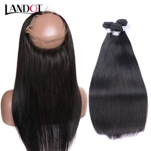 360 volle Spitze Frontal Schließung mit 3 Bundles brasilianisches reines Haar spinnt gerade 8a peruanischen indischen malaysischen kambodschanischen Remy Menschenhaar
