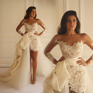 2017 섹시 비치 보헤미안 아이보리 레이스 웨딩 드레스 짧은 레이스 치마 입은 웨딩 드레스 샷시 쉬어 얇은 명주 그 Vestidos 드 Novia 신부 가운